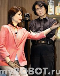 Робот-андроид Repliee Q-1 и Хироши Исигуро