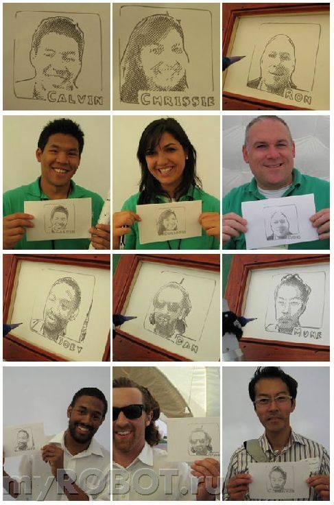 Портреты, нарисованные роботом-портретистом Salvador DaBot.
