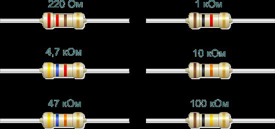 Популярные номиналы резисторов